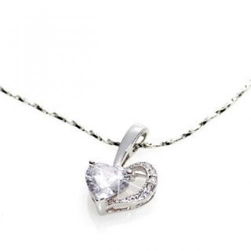 White Crystal Heart Pendant