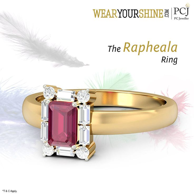 """Paint the town red with the spell-binding """"Rapheala Ring"""" #WearYourShine #Love #Happiness #IndianJewellery #PCJeweller #Fashion #Trends #Rings  #GemstoneJewellery #Gemstones #Rubies #Sapphire"""