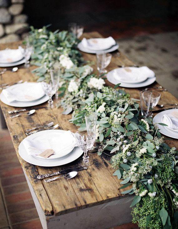 Green Eucalyptus Floral Table Runner along the top of the escort table | LFF Designs | www.facebook.com/LFFdesigns