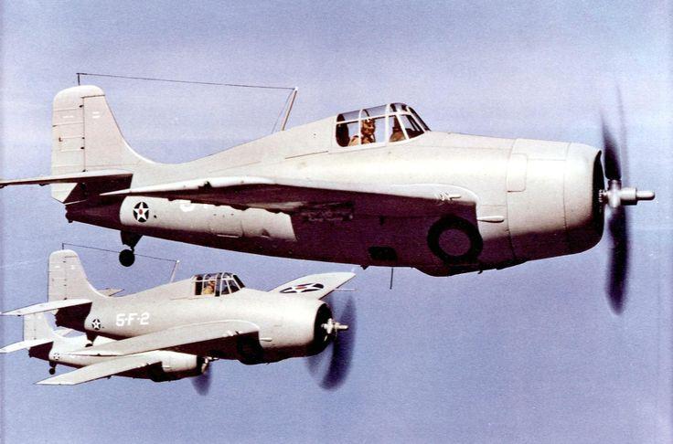 Three Navy Grumman F4F-3-3A Wildcats of Fighting Squadron VF-5 from USS Yorktown (CV-5) flying in formation, circa 1941. [x-post -r-WarplanePorn]