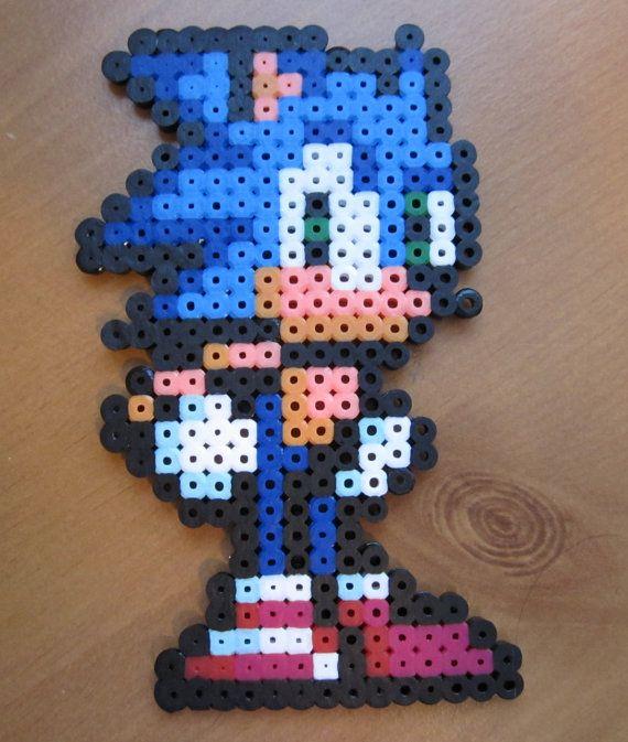 Sonic the Hedgehog Perler Wall Art by WinWolfz on Etsy, $7.50