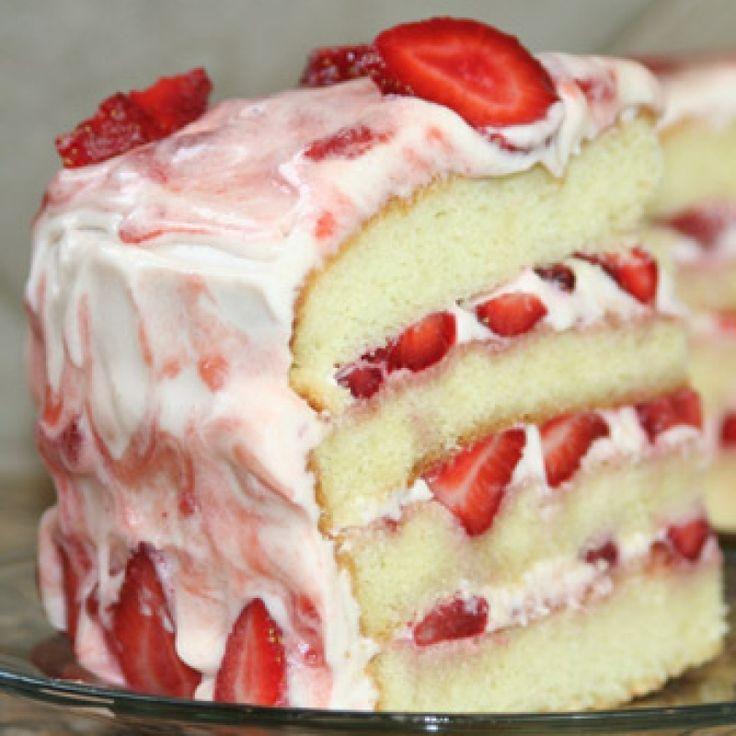 Vanilla cake with strawberry cream cheese frosting recipe