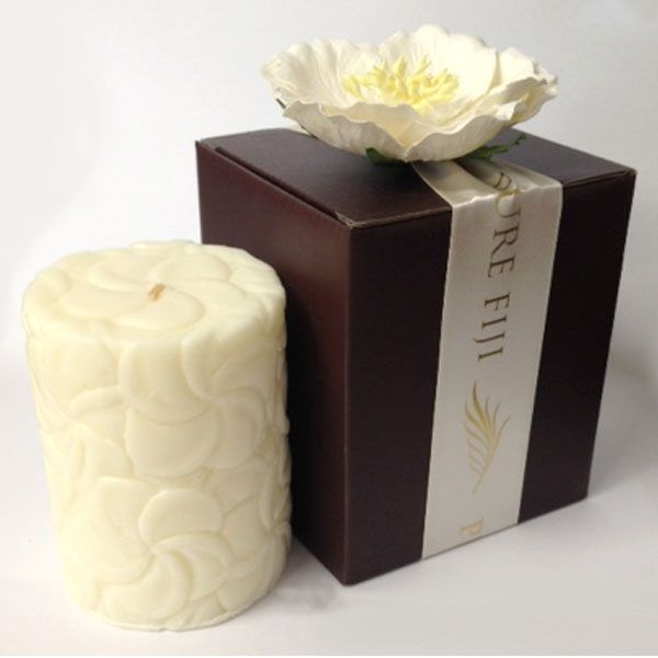 Pure Fiji Frangipani Pillar Candle | Enjoy exotic island breezes with this delightful coconut wax candle. Approximately 30 hour burn time