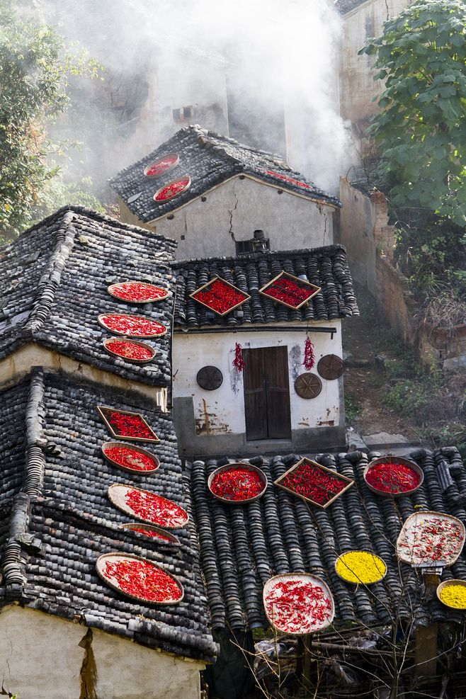 Drying chilis in China