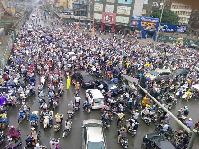 As population of Vietnam is really big, the traffic in Vietnam is mainly motorbike. It is crowded all the time.