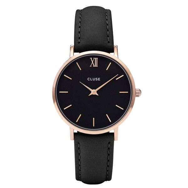 Cluse Minuit Rose Gold Black Damen-Armbanduhr