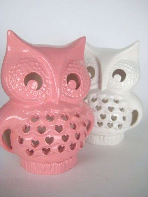 Vintage Ceramic Falling in Love Owl Lantern White by modclay, $46.00