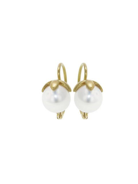 Cathy Waterman Flower Ced Pearl Earrings