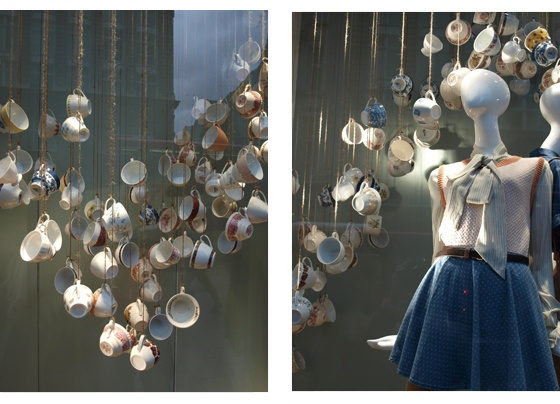 topshop vintage china cups display to complement the patterns in their spring/summer 2011 collection