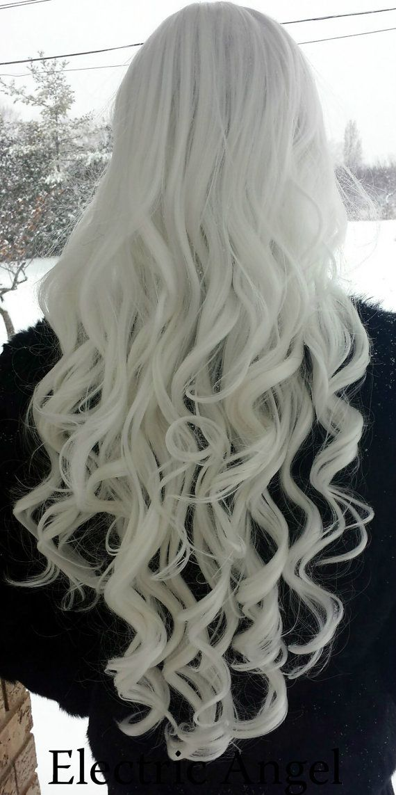 SALE SNOW WHITE //long curly by ElectricAngelWigs on Etsy