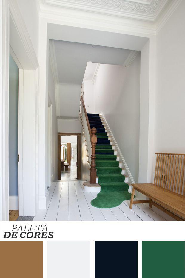 D cor do dia tapete divertido na escada corredor branco for Home node b architecture