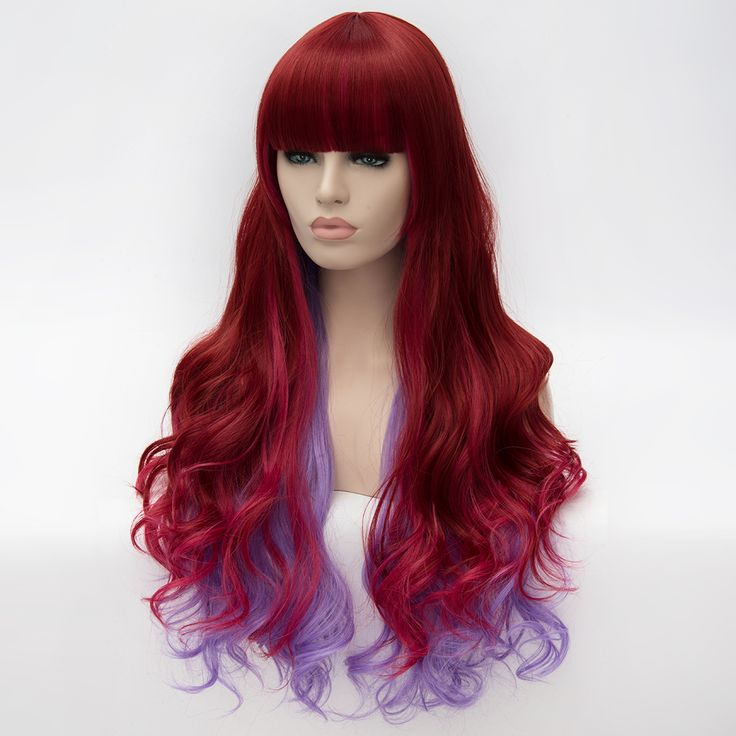 $20.99+ free shipping, Lolita style, harajuku style, Synthetic 2 Colors Red Ombre to Purple Wigs Long Wavy Curly Ombre Wigs Cosplay Hair