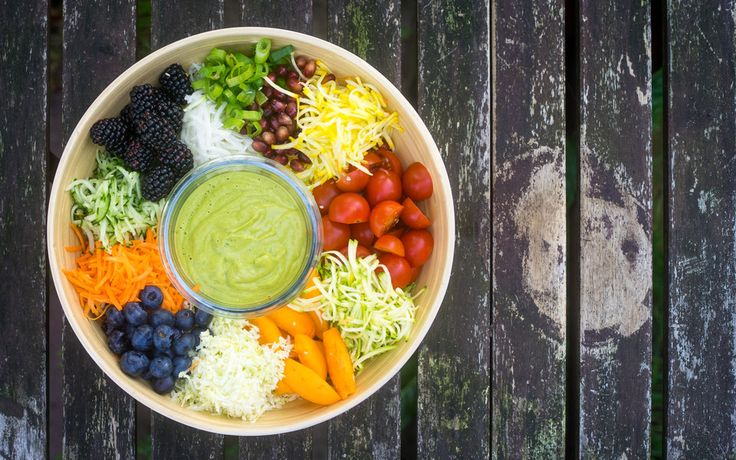 Regenbogensalat mit Avocado-Sesam-Dressing, ein schönes Rezept aus der Kategorie Gemüse.