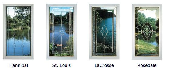 Designer bevel-leaded glass is available  in four artistic patters with silver, gold or black caming. Patterns are available in almost any size window you like...  http://www.claritywindows.com/windows/styles-and-colors.php