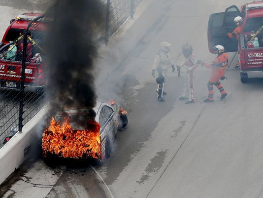 Dale Earnhardt Jr. crashes, car catches fire Nate Ryan, USA TODAY Sports 2:14 p.m. EDT April 7, 2014