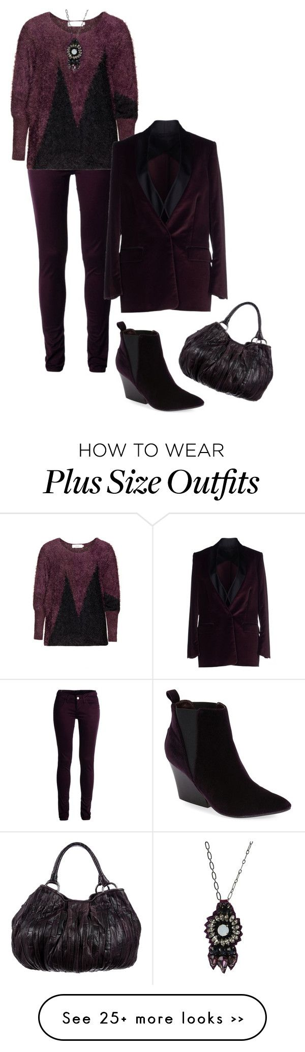 """Purple and black"" by perpetto on Polyvore featuring Monkee Genes, Zizzi, Tonello, Report, Miu Miu and Deepa Gurnani"