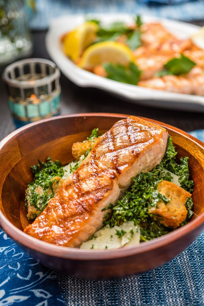 Shredded Kale Caesar Salad with Grilled Salmon from Everyday Good Thinking by @hamiltonbeach
