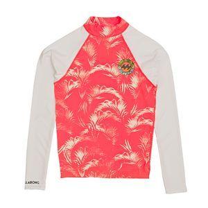 Billabong Rash Vests - Billabong Girls Surf Capsule Long Sleeve Rash Vest - Coral Shine