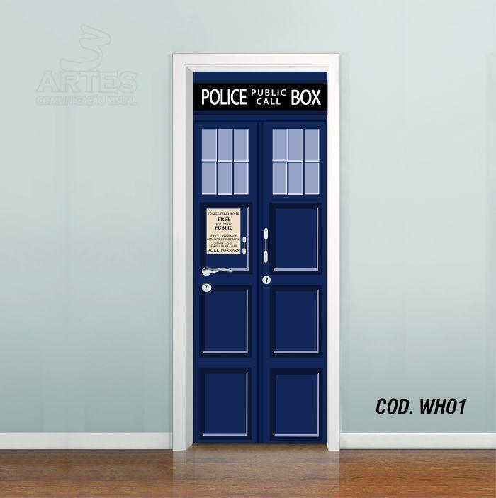 Adesivo De Porta Doctor Who Tardis Vetor 3 Artes (cod.who1) - R$ 59,90
