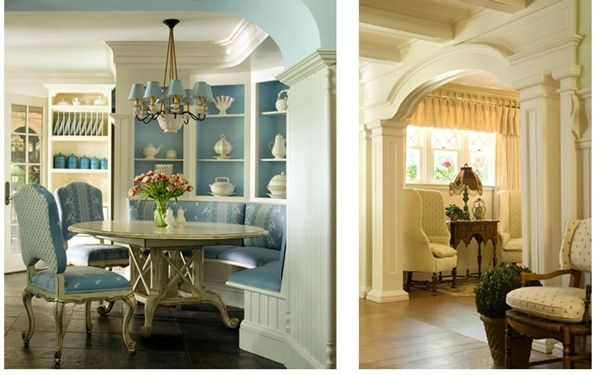 Loving the woodwork in both pics...the banquette...and leeeerve those two wingback chairs