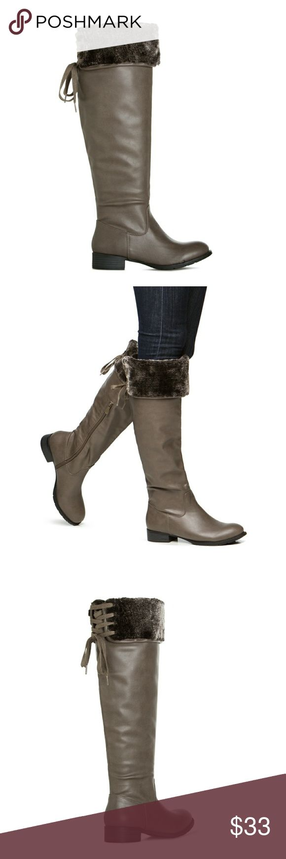 Grey sz 7 boots shoe dazzle Grey sz 7 boots shoe dazzle . Corset detailing.  Plush faux fur.  Can be worn over or under the knee. Shoe Dazzle Shoes