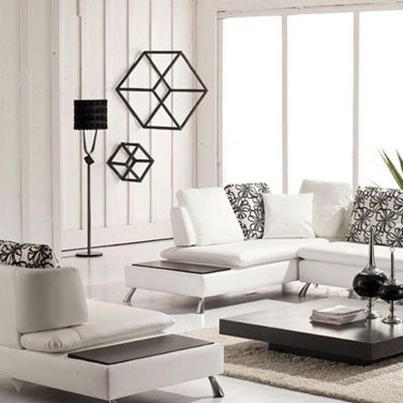 Living Room Contemporary Design With White Leather Sectional Sofa And Cute Cushion Also Grey Square Wooden Coffee Table On The Brown Fur Area