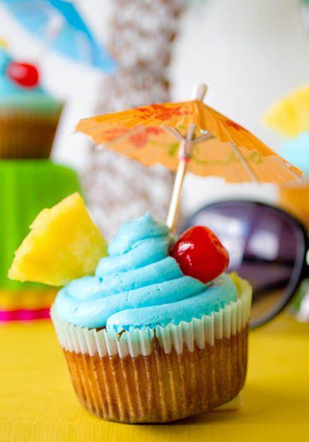 Blue Hawaiian Cupcakes (Vanilla Coconut Rum Gluten-Free Cupcakes)