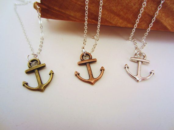 Anchor necklaces, set of three. Friendship necklaces, best friend gift. With or without custom initials
