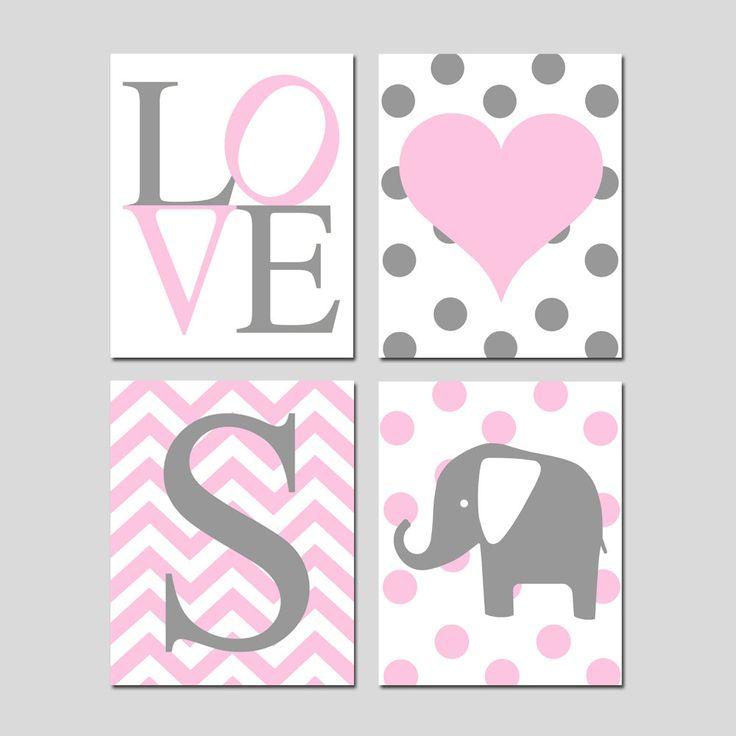 Baby Girl Nursery Wall Art Pink and Gray  Set of 4 Prints