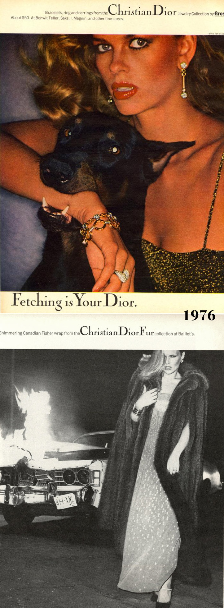 Publication: Christian Dior Campaigns, Model/s: I. Lisa Taylor II. Patti Hansen, Date: Unknown, Image by Chris Von Wangenheim.