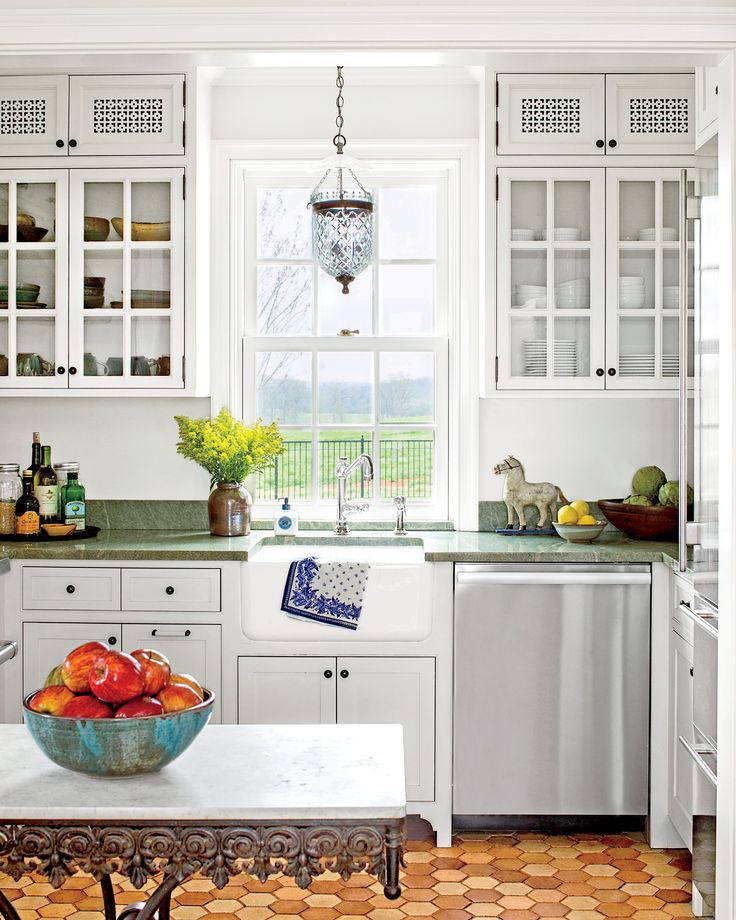 White Kitchen with Green Soapstone Counters