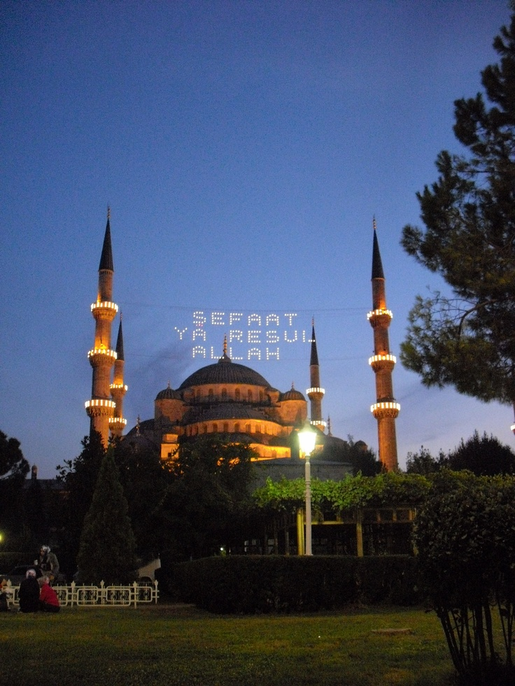 "Blue Mosque with ""mahya"" in Ramadan. my shot."
