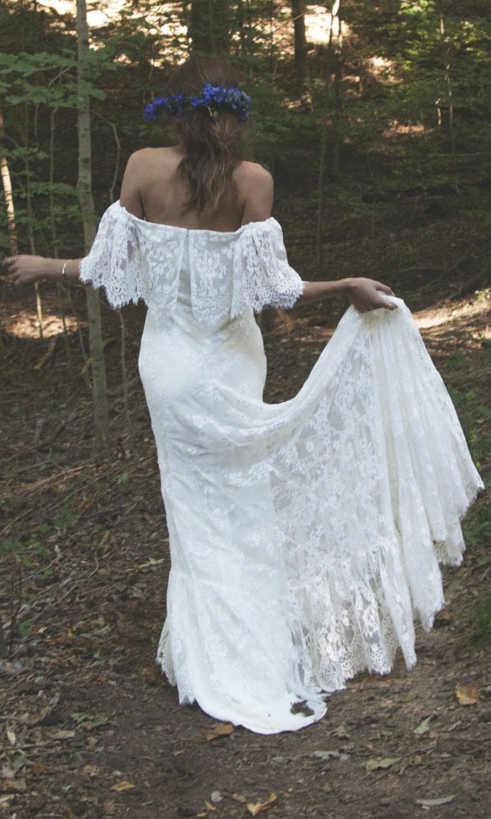 "Off The Shoulder Wedding Dress Lace Bridal- ""Laurence"" by Daughters Of Simone"
