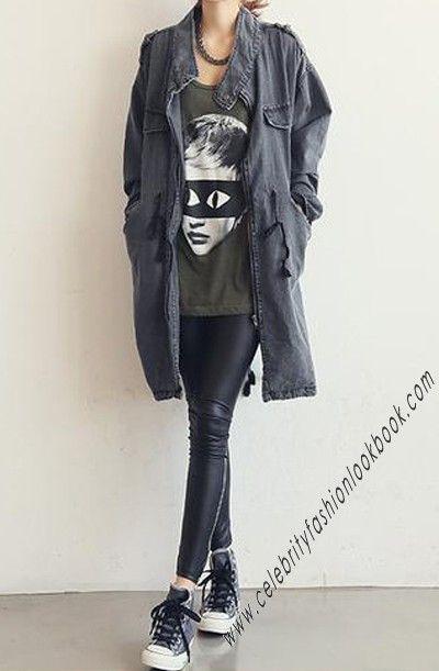 Stand-collar Denim Coat - TeenFashion -  US$69.99  #fashion #coat #denim #jacket #teens #casual #womens #winter #fall