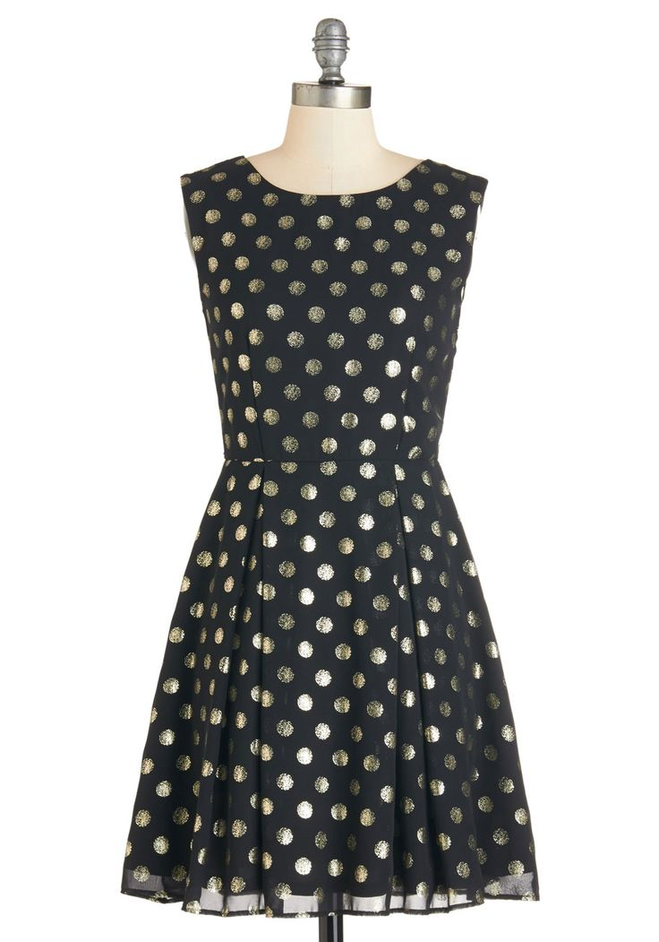 Dinner Party Hostess Dress. Youve prepped your dishes and now float around the roomputting the finishing touches on your spread, decked out in this dotted black dress! #black #modcloth