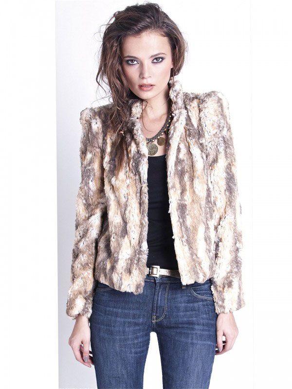 Wish - Adina Fur Coat Peachy