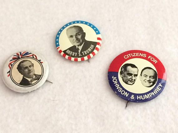 Vintage  Presidential Campaign Pins x 3 Souvenirs Harry Truman