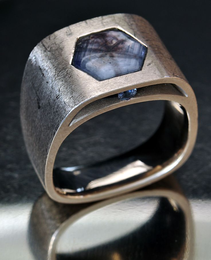 Sapphire trapiche gents ring by Mayer & Watt