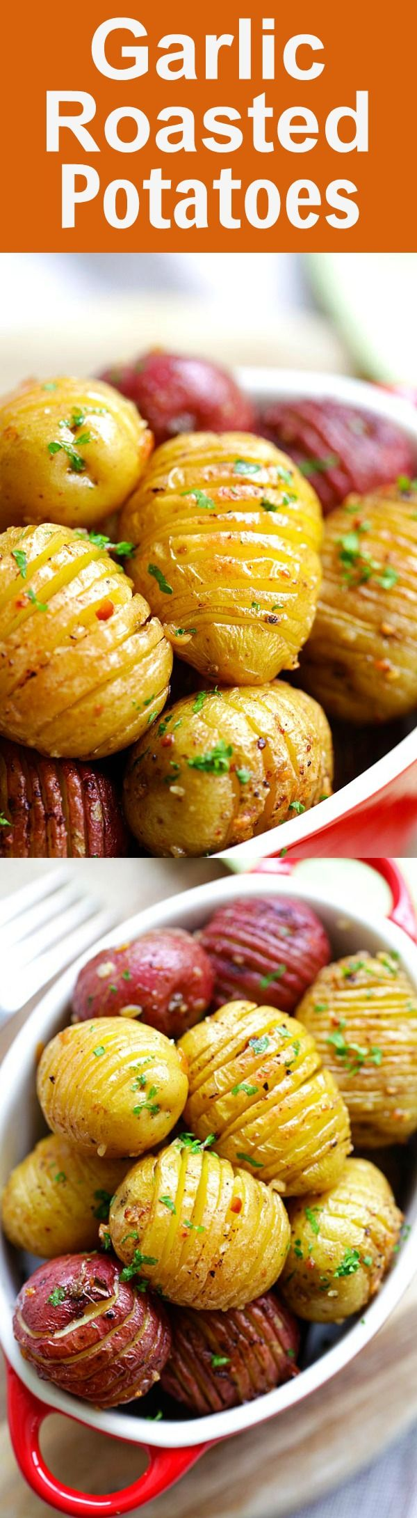 Garlic Roasted Potatoes – best and easiest roasted potatoes with garlic, butter and olive oil. 10 mins prep and 40 mins in the oven | rasamalaysia.com