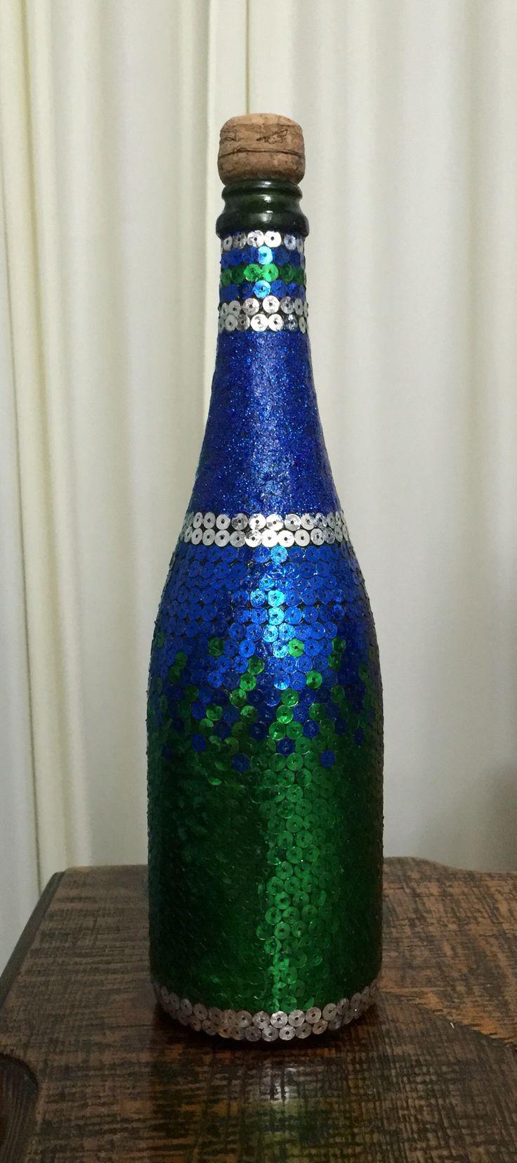 Декорированная пайетками бутылка Цвет морской волны Дизайн бутылок Ручная работа