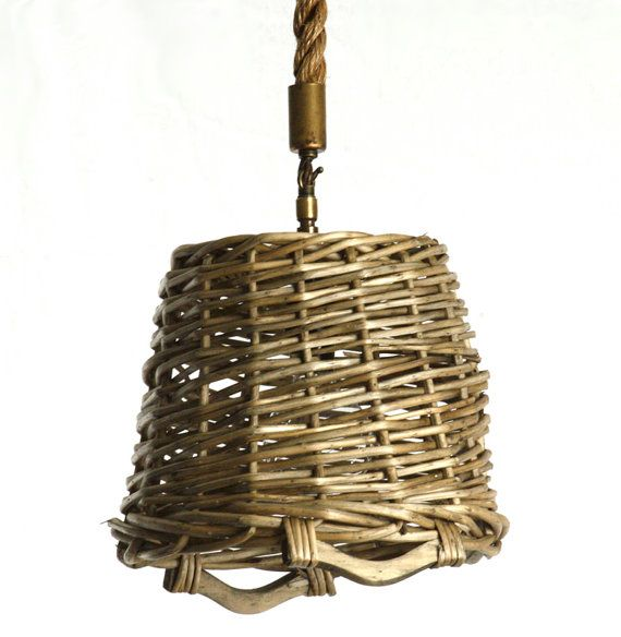 ... French Shabby Chic Round Market Basket Hanging Light Fixture, Pendant