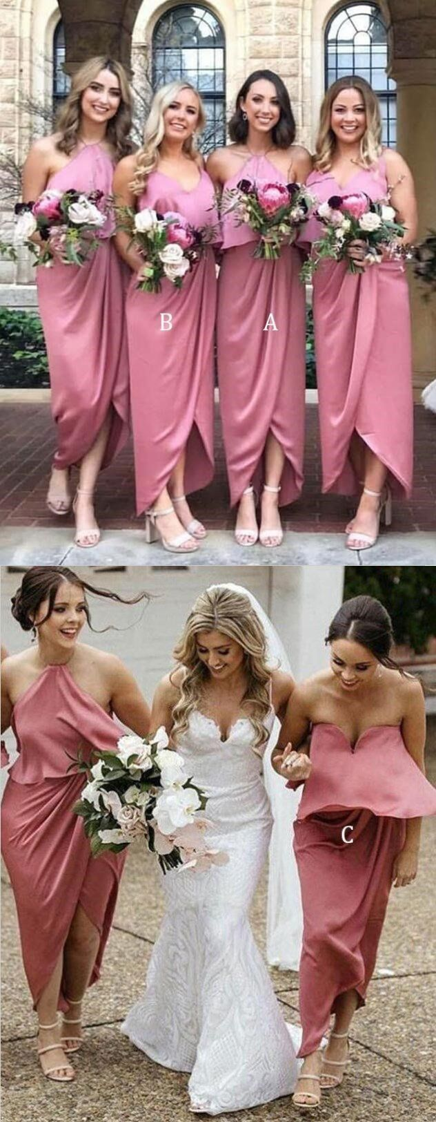 Pink wedding dress short in front long in back  Mismatched Soft Cheap Unique Desigh Modest Pink Bridesmaid Dress