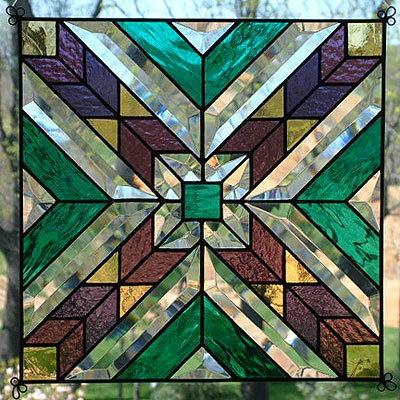 "New 12"" Stained Glass Quilt Pattern Sq Suncatcher 1209 | eBay"