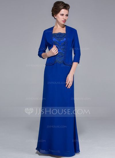 Mother of the Bride Dresses - $142.99 - Sheath/Column Square Neckline Floor-Length Chiffon Charmeuse Mother of the Bride Dress With Lace Beading Sequins (008025767) http://jjshouse.com/Sheath-Column-Square-Neckline-Floor-Length-Chiffon-Charmeuse-Mother-Of-The-Bride-Dress-With-Lace-Beading-Sequins-008025767-g25767