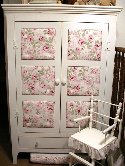 Pie safe makeover ~ paint, wallpaper/fabric and decoupoge ~ by Artsy Fartsy~ diy craft tutorial