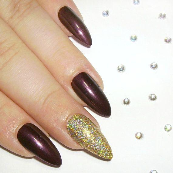 Stiletto Fake Nails Press On Nails Glue by SarahsSparklesNails