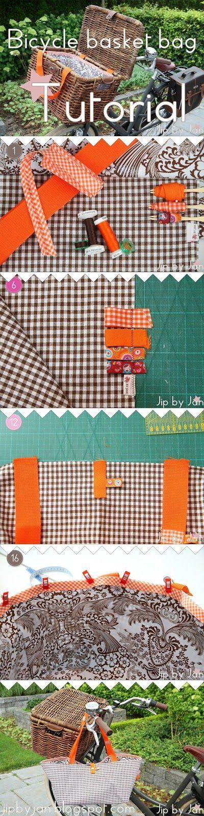 Tutorial How to sew a bag for your bicycle basket Jip by Jan #Sewing #Oilcloth #DIY Naai zelf een tas van zeil en stof voor je fietsmand of -krat aan de hand van deze Jip by Jan tutorial.