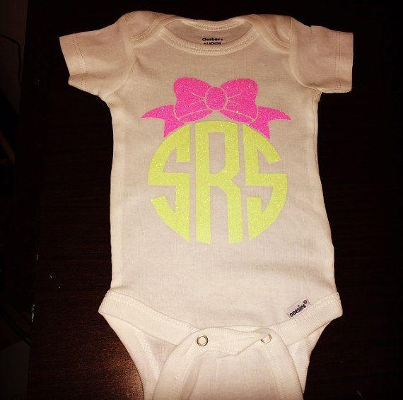 108 best diy shirts onesies images on pinterest jumpsuits glitter vinyl monogrammed baby onesie on etsy 1400 negle Choice Image