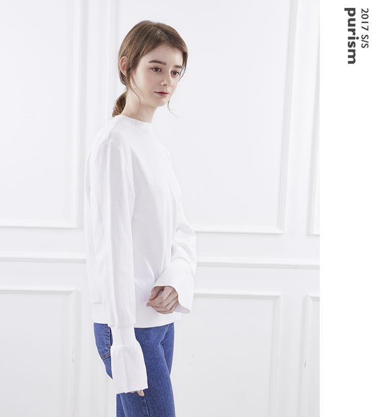 designed by vem.ver, sweat shirt, bell sleeve, white sweat shirt, BRACKET D.BY