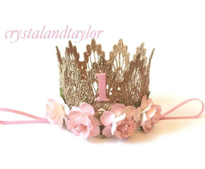 Ready to Ship, Pale Pink Birthday Crown, 1st Birthday Crown, Lace Crown, Gold Crown, Birthday Crown, Baby Girl Crown, Gold Girl Crown by crystalandtaylor on Etsy https://www.etsy.com/nz/listing/290335793/ready-to-ship-pale-pink-birthday-crown